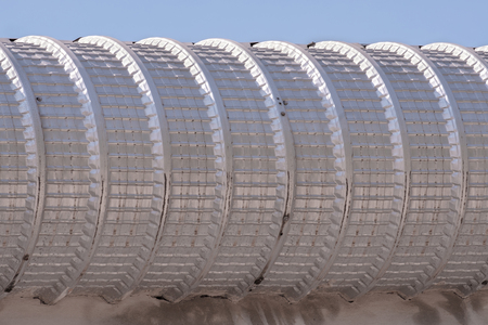 aluminium: View of zinc pipe on the wall. Stock Photo