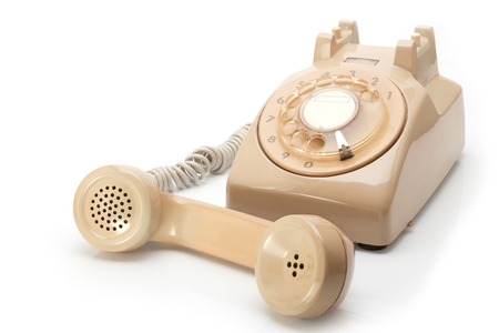 phone cord: Retro phone, vintage telephone on white Background.