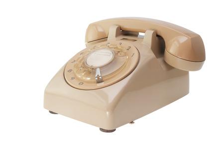 Retro phone, vintage telephone on white Background.