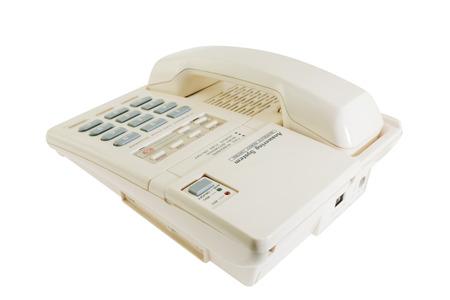 Landline phone, old telephone on white background. Stock Photo