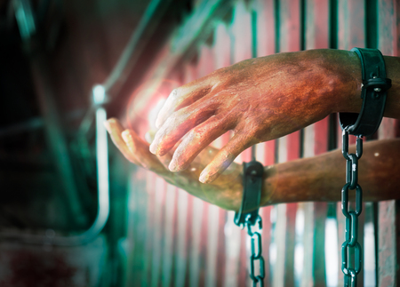 View of artificial hand of prisoner out of jail.