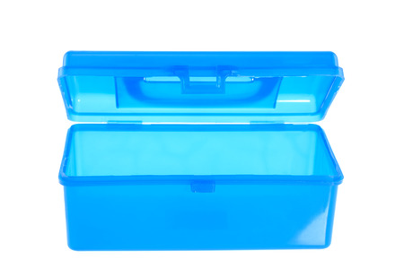 Plastic container on white background.