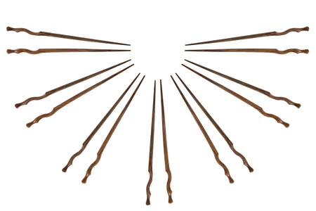 View of chopsticks on white background. Stock Photo