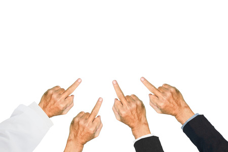Human hand show middle finger on white background.