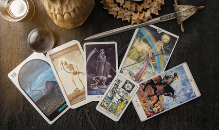 View of tarot card on the table. Stock fotó