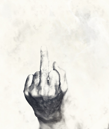 Abstract blur of middle finger on smoke background with copy space. Digital retouch. Stock Photo