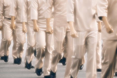 Blur of soldier on parade. Movement. Stock Photo