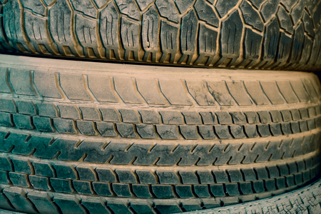 View of old tire texture.