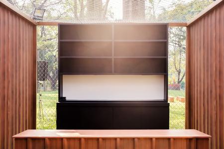 View of empty shelf in the park. Фото со стока