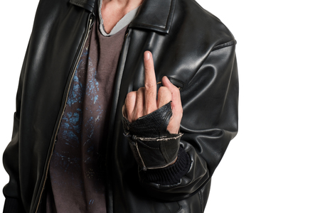 Man show middle finger on white background.