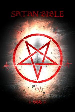 Illustration of satan bible cover.