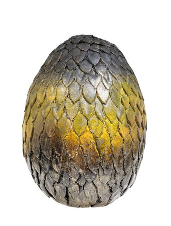 Dragon egg on white background. Clay craft.