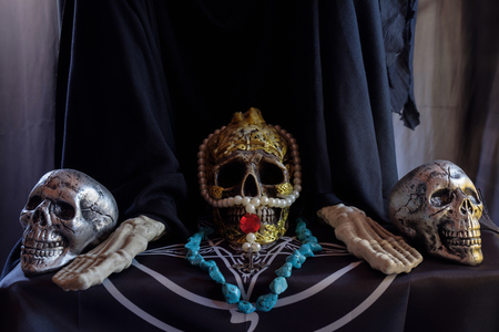 View of skull on the table. Soft focus. Stockfoto