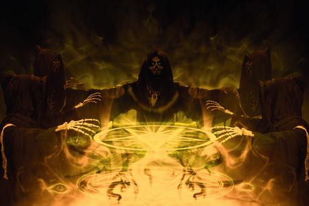 Congregation of hooded skeleton on horror background. Grim Reaper, The Death. 3D illustration.