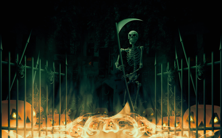 Skeleton with scythe standing on halloween background. 3D illustration.