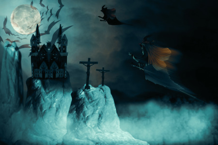 View of witch flying on sky at night. 3D illustration.