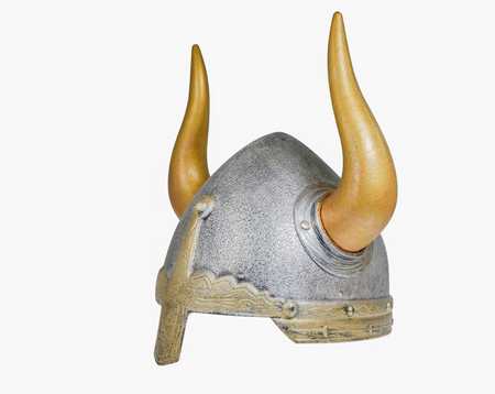 Viking helmet on white background.