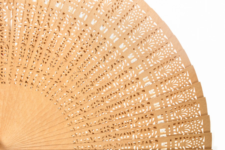 Wooden fan on white background. Archivio Fotografico
