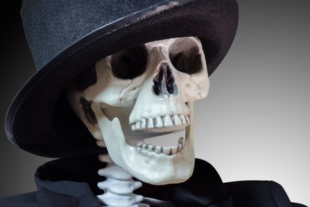 Closeup skeleton with magician hat on gray background.