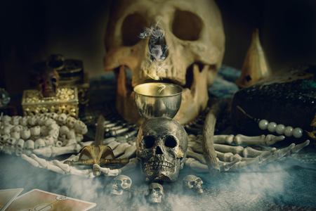 View of skull on the table. Dark tone. Banco de Imagens