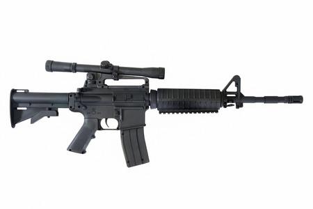 Machine gun on white background. M-16