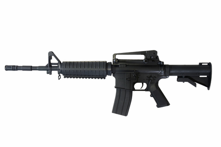 Machine gun on white background. M-16