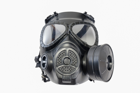 Gas mask on white background. Protection devices for industrial applications. Stock Photo