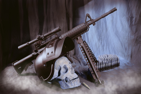 View of skull with helmet and machine gun on the table. Dark tone.
