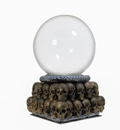 Crystal ball with skull on white background. Clay craft.