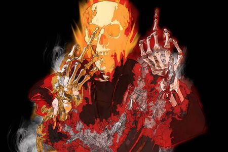 View of skeletal with fire show middle finger on dark background.  Digital paint. Stock Photo