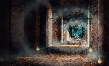 View of skeletal with wing crawling on the ground in abandoned building with smoke. Dark tone. The death. Digital paint. Stockfoto