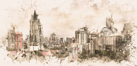 Cityscape of business district, Bangkok, Thailand. Digital paint. Watercolor style. Zdjęcie Seryjne