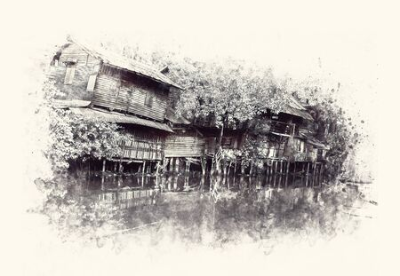 View of old wooden houses along the canal. Digital paint. Watercolor style. 写真素材