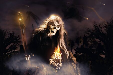 View of skeleton holding wand at night on horror background. Digital retouch.
