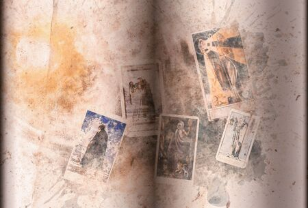 View of old tarot book, The Hermit. Digital paint. Watercolor style. Banco de Imagens
