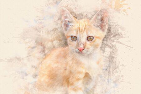 Portrait of kitten. Digital paint. Watercolor style.