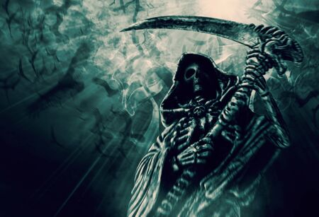 Hooded skeletal standing on the crow fly background. Grim Reaper, The Death. Digital retouch. Stockfoto