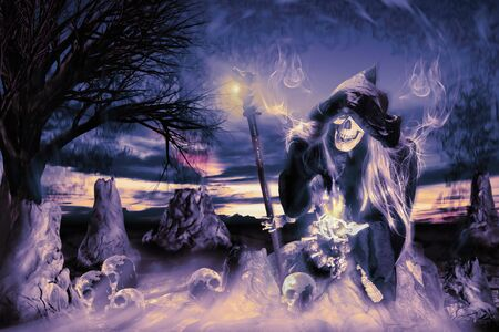 View of hooded skeleton holding wand at night on horror background. Digital retouch.