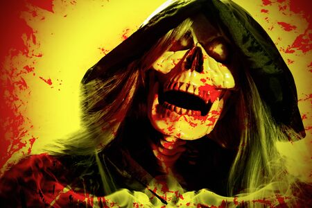 Portrait of hooded skeleton on yellow and red background. Digital retouch. Stockfoto