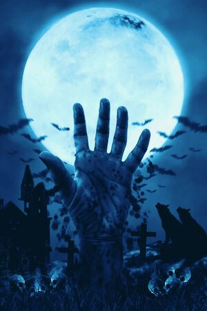 View of hand rise on the ground in the graveyard with the moon background. Digital retouch. 写真素材