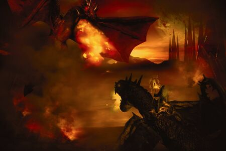 Dragon fighting on burning background. Digital retouch. 写真素材