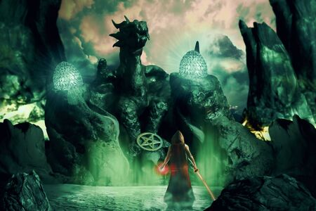 View of wizard standing in the dragon temple. Digital retouch. Stockfoto