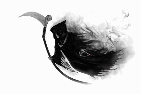 Hooded skeleton float on white background. Grim Reaper, The Death.