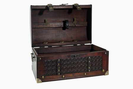 Old wooden treasure chest on white background.