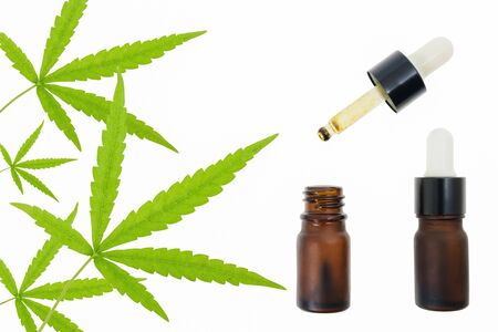 CBD oil in the bottle and marijuana leaf on white background.