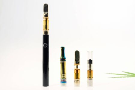 CBD/THC vape pen on white background.