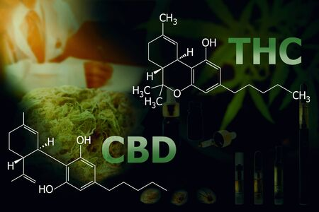 CBD/THC formula, Tetrahydrocannabinol on dark background.
