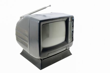 Old small television on white background.
