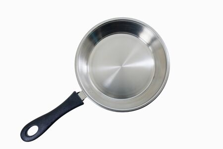 Stainless pan on white background. 免版税图像