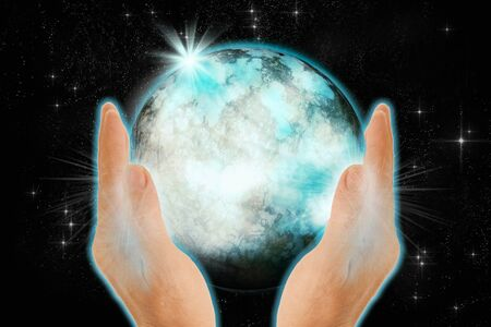 Hands holding the world on dark background. Save world concept. 3D illustration.